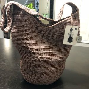 The SAK crochet hobo shoulder bag- Taupe color